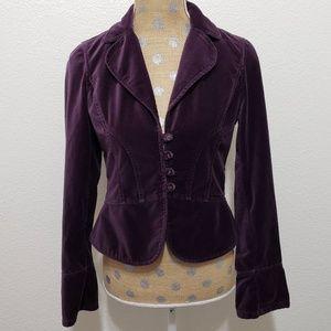 Loft Velvet Blazer Purple Soft Button Size 2